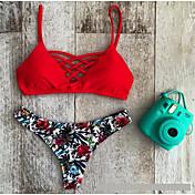 De las mujeres Bikini-FloralHalter-Poliéster