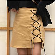 レディース ホリデー 膝上 スカート カラーブロック 春 冬