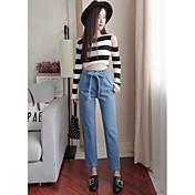 Mujer Simple Tiro Alto Microelástico Ajustado Pantalones Pantalones,Ajustado Pantalones Un Color