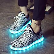Mujer Zapatos Tejido Invierno Otoño Confort Zapatos con luz Zapatillas de deporte Paseo Dedo Puntiagudo para Deportivo Casual Negro Rojo