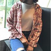 Mujer Bonito Activo Ropa Cotidiana Casual/Diario Primavera/Otoño Camisa,Escote Cuadrado Estampado Manga Larga Algodón Fino
