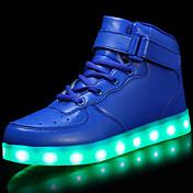 Chico Zapatos Cuero Patentado Materiales Personalizados Invierno Otoño Confort Zapatos con luz Zapatillas de deporte LED Con Cordón