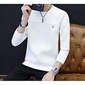 Hombre Activo Ropa Cotidiana Primavera/Otoño Camiseta,Escote Redondo Estampado Manga Larga Algodón Fino