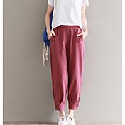 Mujer Casual Tiro Alto Microelástico Chinos Pantalones,Un Color Verano Otoño