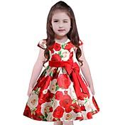 Vestido Chica de Floral Algodón Poliéster Manga Corta
