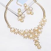 女性用 スタッドピアス ペンダントネックレス 人造真珠 ラインストーン クラシック ファッション 欧風 真珠 合金 用途 婚約 式典 ウェディングギフト