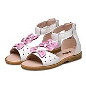 Chica Zapatos Cuero Verano Confort Sandalias Pajarita Cinta Adhesiva para Casual Vestido Blanco