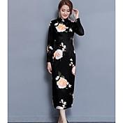 Mujer Corte Bodycon Vestido Casual/Diario Estampado Cuello Barco Midi Mangas largas Algodón Primavera Verano Tiro Medio Microelástico