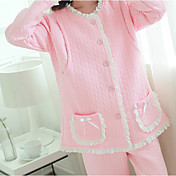 Mujer Traje Pijamas,Un Color Algodón Poliéster Rosa