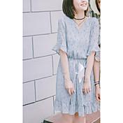 Mujer Línea A Vestido Noche Casual/Diario Floral Escote en Pico Sobre la rodilla Manga Corta Algodón Verano Tiro Alto Microelástico Medio