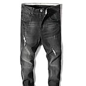 Hombre Casual Tiro Medio Microelástico Corte Ancho Pantalones,Un Color Algodón / nylon con un toque de elasticidad Otoño