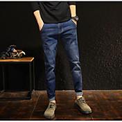 Hombre Vintage Tiro Medio Microelástico Vaqueros Pantalones,Vaqueros Un Color