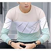 Hombre Chic de Calle Casual/Diario Camiseta,Escote Redondo Bloques Manga Larga Algodón