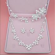 Mujer Para la Cabeza Collar Perla artificial Diamante sintético Boda Fiesta Cumpleaños Pedida Legierung Forma de Corona Forma de Hoja