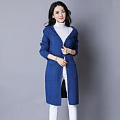 レディース カジュアル/普段着 ロング カーディガン,ソリッド フード付き 長袖 コットン ミディアム 伸縮性あり