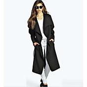 レディース 綿 冬 コート,セクシー シャツカラー ソリッド ロング ウール 長袖