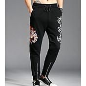 Hombre Simple Tiro Medio Microelástico Chinos Pantalones,Chinos Un Color Bordado