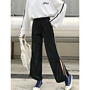 Mujer Simple Tiro Alto Microelástico Perneras anchas Pantalones,Perneras anchas Un Color A Rayas