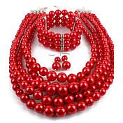 Mujer Joyería Destacada Casual Fiesta de Noche Perla Artificial Forma de Círculo Collar Pendientes Pulseras