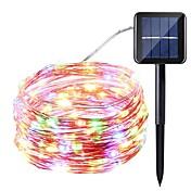 Fuente de alimentación solar cadena de luz 10 metros 100 luces luces de línea de plata estrella luces de cadena de interior al aire libre