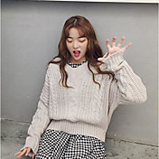 Mujer Regular Pullover Casual/Diario Simple,Un Color Escote en Pico Manga Larga Algodón Primavera/Otoño Medio Microelástico