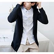 メンズ カジュアル/普段着 秋 コート,シンプル フード付き ソリッド レギュラー ポリエステル 長袖