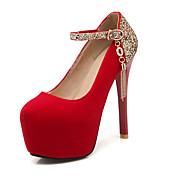女性用 靴 ベルベット グリッター レザーレット 春 夏 スティレットヒール プラットフォーム スパークリンググリッター のために 結婚式 ドレスシューズ パーティー ブラック ダークブルー レッド