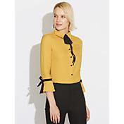 Mujer Camisa, Cuello Camisero Un Color