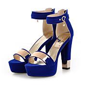 Mujer Zapatos Cuero Nobuck Primavera / Verano Confort / Innovador Sandalias Tacón Cuadrado Puntera abierta Lentejuela / Hebilla Negro /