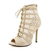 Mujer Zapatos Semicuero Primavera / Otoño Confort / Innovador / Botas de Moda Sandalias Tacón Stiletto Dedo redondo Botines / Hasta el