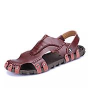 メンズ 靴 PUレザー 夏 コンフォートシューズ サンダル のために ブラック ダークレッド Brown