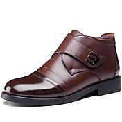 Hombre Zapatos Cuero Otoño Invierno Botas de nieve Botas Botines/Hasta el Tobillo Para Boda Casual Fiesta y Noche Negro Café