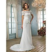 Trompeta / Sirena Larga Raso Encaje Vestido de novia con Cinta / Lazo por LAN TING BRIDE®