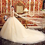 vestido de bola vestido de novia de tulle de la catedral del neckline del vestido de bola con el rebordear por yuanfeishani