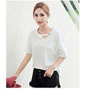Mujer Bonito Casual/Diario Verano Otoño Camiseta,Escote Redondo Un Color Manga Corta Algodón Fino