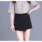 Mujer Vintage Diario Mini Faldas,Línea A Algodón Otoño Un Color