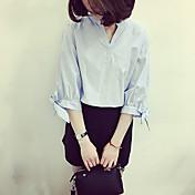 Mujer Activo Casual/Diario Primavera/Otoño Camisa,Escote en Pico Un Color Algodón Medio