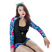 HISEA® Mujer Traje de buceo Resistente al Viento, SPF50, Protección solar UV Nailon / Licra Manga Larga Bañadores Ropa de playa Trajes de buceo Geométrico / Resistente a los rayos UV / Secado rápido