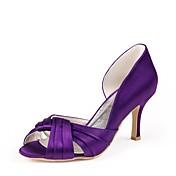 レディース 靴 シルク 春 夏 ベーシックサンダル ウェディングシューズ スティレットヒール オープントゥ/ピープトウ ドレープ のために 結婚式 パーティー ライトパープル