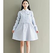 Mujer Línea A Vestido Noche Simple,Un Color Escote Cuadrado Sobre la rodilla Mangas largas Algodón Primavera Tiro Medio Microelástico