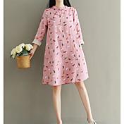 Mujer Corte Ancho Vestido Noche Simple,Estampado Escote Redondo Sobre la rodilla Mangas largas Algodón Primavera Otoño Tiro Medio