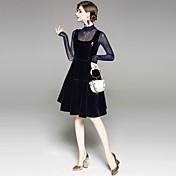女性用 パーティー 祝日 セクシー ストリートファッション シース 膝上 ドレス, ソリッド 長袖 ラウンドネック