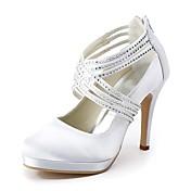 レディース 靴 シルク 春 夏 ベーシックサンダル ウェディングシューズ スティレットヒール クローズトゥ ラインストーン のために 結婚式 パーティー ホワイト
