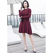 Mujer Vaina Vestido Noche Simple,Un Color Escote Redondo Hasta la Rodilla Mangas largas Algodón Acrílico Verano Otoño Alta cintura Rígido