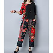 Mujer Tejido Oriental Algodón Corte Ancho Conjunto - Floral, Estampado Pantalón / Otoño