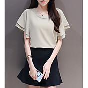 Mujer Noche Algodón Camiseta - Un Color Falda