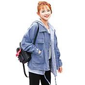 レディース カジュアル/普段着 秋 冬 デニムジャケット,シンプル フード付き ソリッド ショート その他 長袖