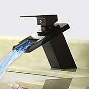 アンティーク センターセット 滝状吐水タイプ セラミックバルブ 一つ シングルハンドルつの穴 オイルブロンズ, バスルームのシンクの蛇口