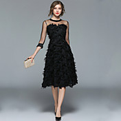 Mujer Vintage / Chic de Calle Línea A / Pequeño Negro Vestido - Borla, Un Color Midi / Borla