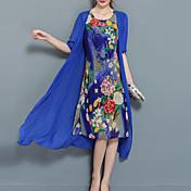 Mujer Tallas Grandes Noche Gasa Dos Piezas Vestido - Estampado, Floral Midi Azul